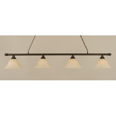 Oxford 4-Light Billiard Light Finish: Bronze, Shade Color: Amber, Size: 12 H x 74 W