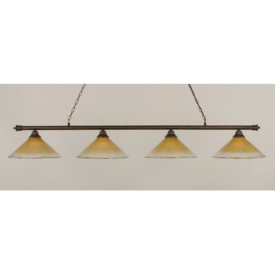 Oxford 4-Light Billiard Light Finish: Bronze, Shade Color: Amber