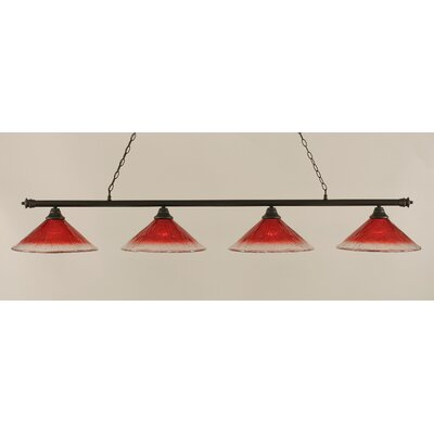 Oxford 4-Light Billiard Light Finish: Dark Granite, Shade Color: Raspberry