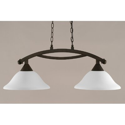 Blankenship 2-Light 100W Adjustable Kitchen Island Pendant Shade Color: White, Finish: Bronze