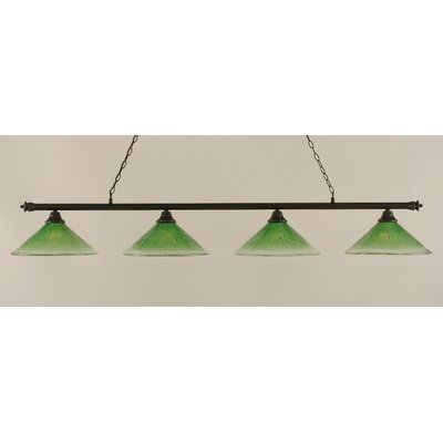 Oxford 4-Light Billiard Light Finish: Dark Granite, Shade Color: Kiwi Green