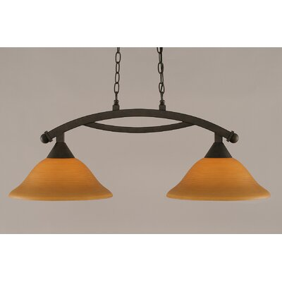 Blankenship 2-Light 100W Adjustable Kitchen Island Pendant Finish: Bronze, Shade Color: Cayenne