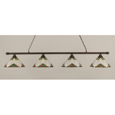 Oxford 4-Light Billiard Light Finish: Bronze, Shade Color: Green