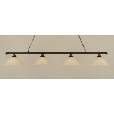 Oxford 4-Light Billiard Light Finish: Bronze, Shade Color: Amber, Size: 11.25 H x 75.75 W