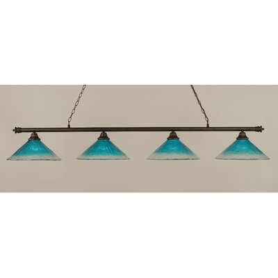 Oxford 4-Light Billiard Light Shade Color: Teal, Finish: Bronze
