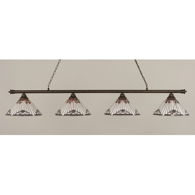 Oxford 4-Light Billiard Light Finish: Bronze, Shade Color: Purple
