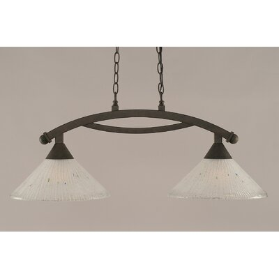 Bow 2-Light Kitchen Island Pendant Shade Color: Frosted, Finish: Bronze