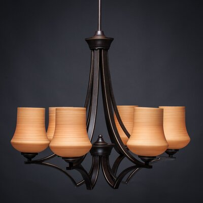 Zilo 6-Light Shaded Chandelier Finish: Dark Granite, Shade Color: Cayenne