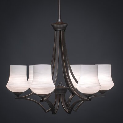 Zilo 6-Light Shaded Chandelier Finish: Dark Granite, Shade Color: White
