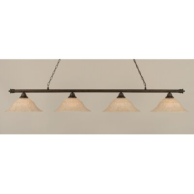 Passabe 4-Light Bell Shade Billiard Light Finish: Bronze, Size: 11.25 H x 75.75 W