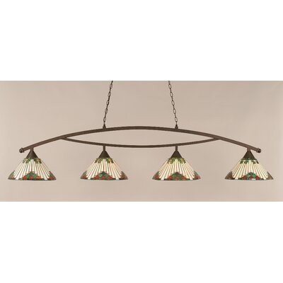 Essonnes 4-Light Billiard Light Shade Color: Green, Finish: Bronze