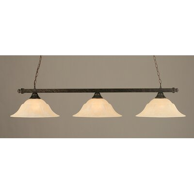 3-Light Pool Table Light Finish: Bronze, Shade Color: Amber