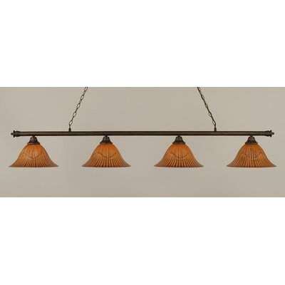 Passabe 4-Light Tiger Shade Billiard Light Finish: Bronze, Size: 12 H x 73.5 W