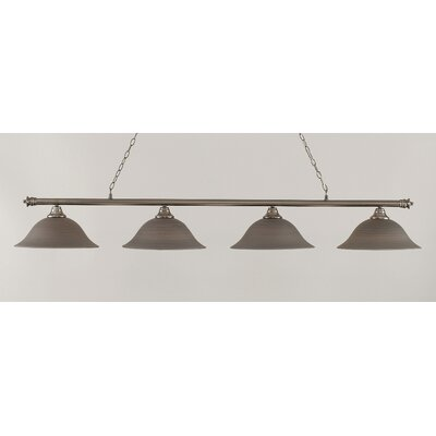 Passabe 4-Light Glass Shade Billiard Light Finish: Brushed Nickel, Shade Color: Gray