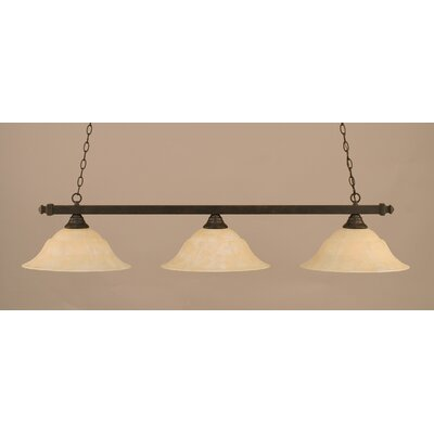 3-Light Pool Table Light Finish: Dark Granite, Shade Color: Amber