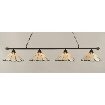 Oxford 4-Light Billiard Light Shade Color: Honey and Hunter Green, Finish: Dark Granite