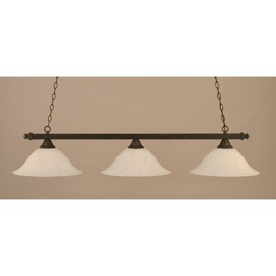 3-Light Pool Table Light Shade Color: White, Finish: Dark Granite