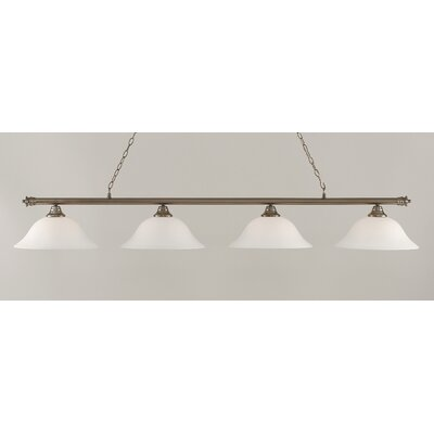 Passabe 4-Light Glass Shade Billiard Light Finish: Brushed Nickel, Shade Color: White