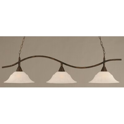 Swoop 3-Light Kitchen Island Pendant Finish: Bronze, Shade Color: White
