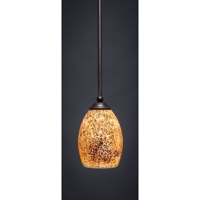 Zilo 1-Light Mini Pendant Size: 8 H x 5 W, Finish: Dark Granite, Shade Color: Gold