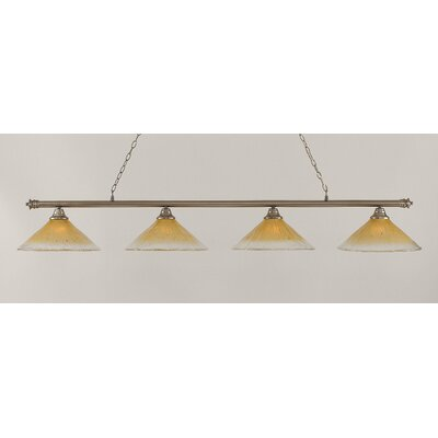 Oxford 4-Light Billiard Light Finish: Brushed Nickel, Shade Color: Amber