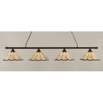 Passabe 4-Light 150W Cone Shade Billiard Light Finish: Dark Granite, Shade Color: Honey and Burgundy