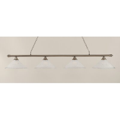 Oxford 4-Light Billiard Light Finish: Brushed Nickel, Shade Color: Frosted