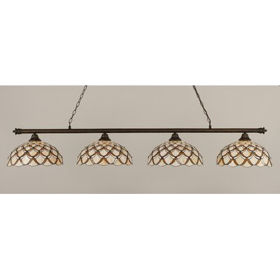 Passabe 4-Light Scallop Tiffany Shade Billiard Light Finish: Bronze