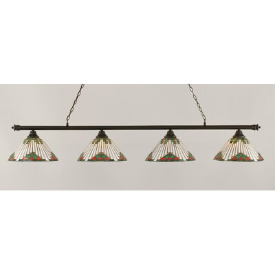 Oxford 4-Light Billiard Light Finish: Dark Granite, Shade Color: Green
