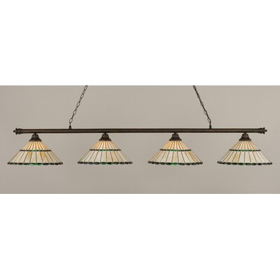 Oxford 4-Light Billiard Light Finish: Bronze, Shade Color: Honey and Green