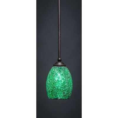 Zilo 1-Light Mini Pendant Shade Color: Green, Size: 8 H x 5 W, Finish: Dark Granite