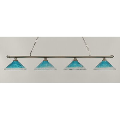 Oxford 4-Light Billiard Light Finish: Brushed Nickel, Shade Color: Teal