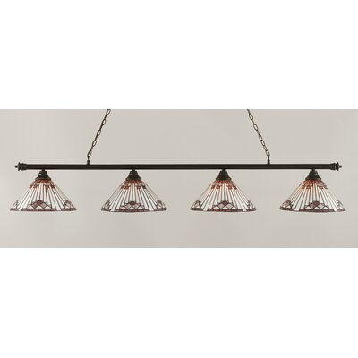 Oxford 4-Light Billiard Light Shade Color: Purple, Finish: Dark Granite
