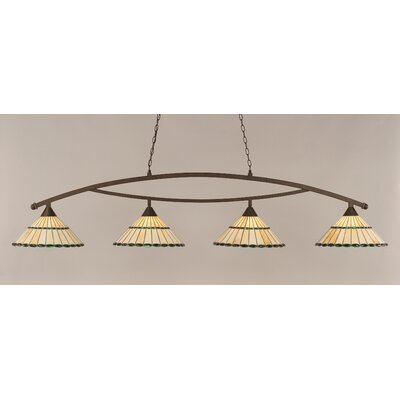 Austinburg 4-Light Kitchen Island Pendant Shade Color: Honey and Green