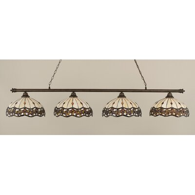 Passabe 4-Light Jewel Tiffany Shade Billiard Light Finish: Bronze