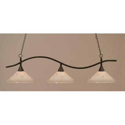 Swoop 3-Light Kitchen Island Pendant Finish: Dark Granite, Shade Color: Frosted