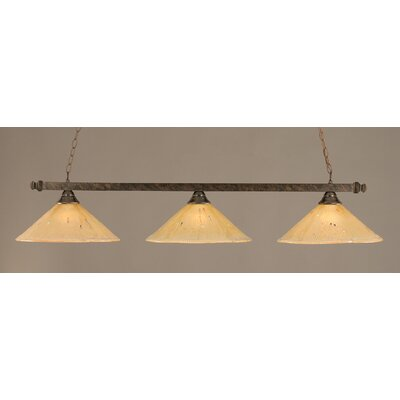 3-Light Billiard Light Finish: Bronze, Shade Color: Amber