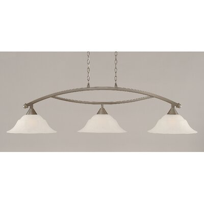 Blankenship 3-Light Kitchen Island Pendant Finish: Brushed Nickel, Shade Color: White