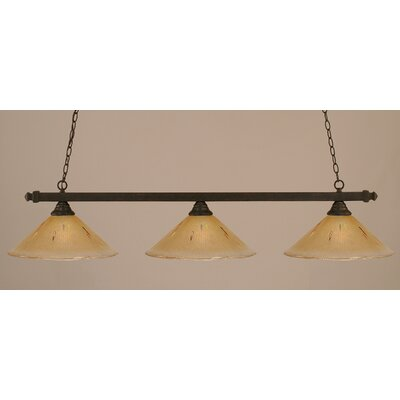 3-Light Billiard Light Shade Color: Amber, Finish: Dark Granite