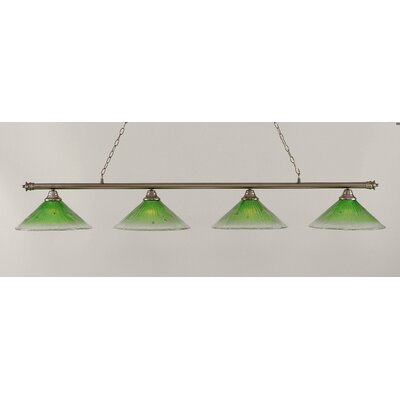 Oxford 4-Light Billiard Light Finish: Brushed Nickel, Shade Color: Kiwi Green