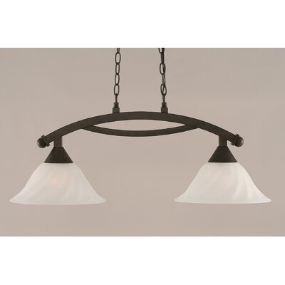 Blankenship 2-Light Steel Kitchen Island Pendant Color: Bronze