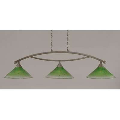 Bow 3-Light Billiard Light Finish: Brushed Nickel, Shade Color: Kiwi Green