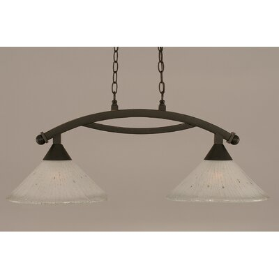 Bow 2-Light Kitchen Island Pendant Shade Color: Frosted, Finish: Dark Granite