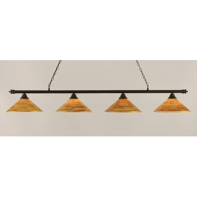 Passabe 4-Light Cone Shade Billiard Light Finish: Dark Granite