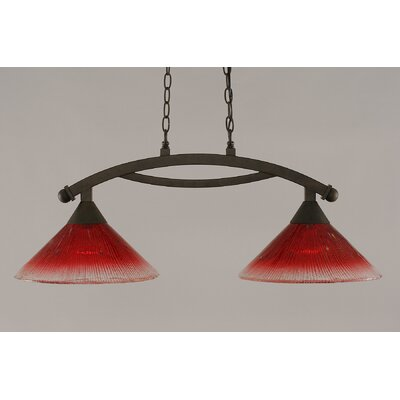 Bow 2-Light Kitchen Island Pendant Shade Color: Raspberry, Finish: Bronze
