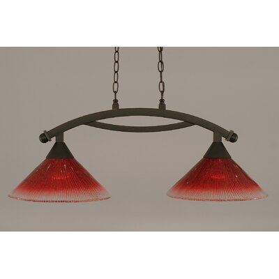 Bow 2-Light Kitchen Island Pendant Shade Color: Raspberry, Finish: Dark Granite