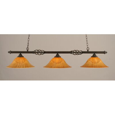Elegante 3-Light Billiard Light Size: 10.5 H x 56 W