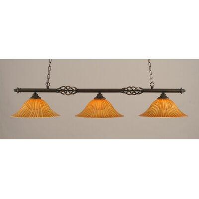 Elegante 3-Light Billiard Light Size: 10.5 H x 56 W