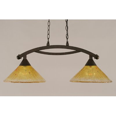 Bow 2-Light Kitchen Island Pendant Finish: Bronze, Shade Color: Teal