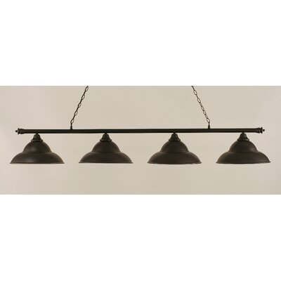 Passabe 4-Light Steel Shade Billiard Light Finish: Dark Granite